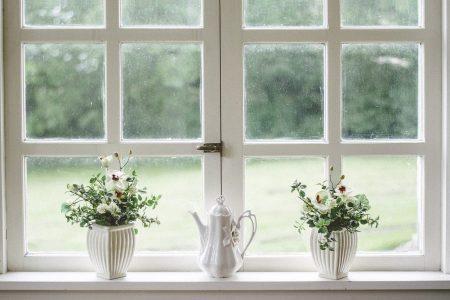 vases devant une fenêtre